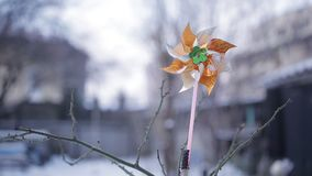 一个风向在多雪的庭院里在冬天 影视素材