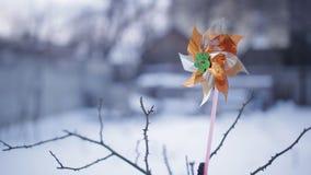 一个风向在多雪的庭院里在冬天 股票视频