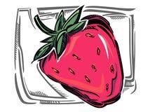 一个风格化传染媒介草莓 免版税库存照片