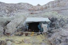 一个风雨棚在硫磺矿 免版税库存照片