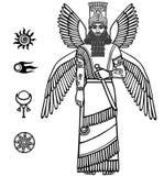 一个飞过的亚述人神的图象 苏美尔人的神话字符  免版税库存照片