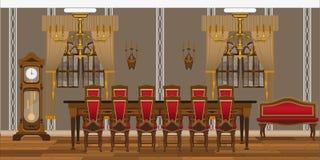 一个餐馆、研究或者客厅的内部有大桌和椅子的 库存照片