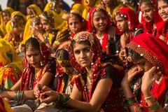 一个骆驼市场的印度女孩在普斯赫卡尔 库存照片