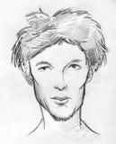 一个骨瘦如柴的人的面孔的铅笔剪影 库存照片