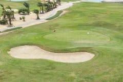 一个高尔夫球场的鸟瞰图有绿色和地堡的 免版税图库摄影
