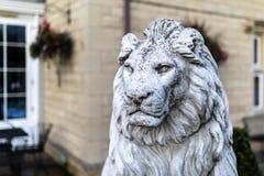 一个高尚和豪华男性狮子石头雕象的画象在一庄严家庭菜园的在英国,英国 免版税库存图片