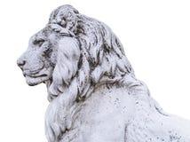 一个高尚和豪华男性狮子石头雕象的画象在statel的 免版税库存照片