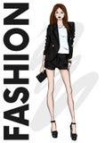 一个高苗条女孩简而言之,夹克和高跟鞋 有腿的长的设计 时尚、样式、衣物和辅助部件 向量 库存例证