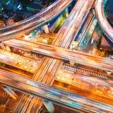 一个高速公路交叉点的鸟瞰图在大阪,日本 库存照片