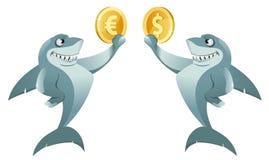 一个鲨鱼举行美元标志的和拿着欧元的另一个鲨鱼 图库摄影