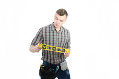 一个年轻人在工作 免版税库存图片