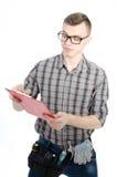 一个年轻人在工作 库存图片