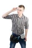 一个年轻人在工作 免版税库存照片