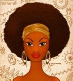 一个年轻黑人妇女的画象种族背景的 免版税库存照片