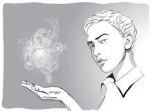 一个年轻人的图片用他的手 免版税库存照片