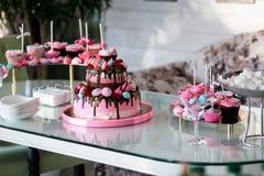一个宴会的宴会桌在餐馆 别致的桃红色蛋糕,孩子结块,生日蛋糕,甜桌,棒棒糖, 免版税库存图片