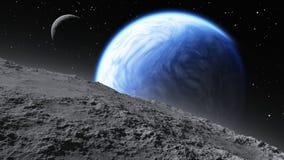 围绕一个类似地球的行星旋转的两月亮 免版税库存照片