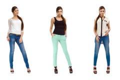 一个年轻偶然时尚美丽的女孩的三张照片 库存照片
