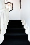 一个经典大厦的现代楼梯与黑地毯的 免版税库存照片