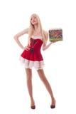 一个年轻可爱的性感的圣诞老人女孩的画象 库存照片