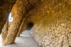 一个画廊在公园Guell -巴塞罗那 免版税库存照片