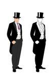 一个绅士的剪影无尾礼服的 免版税库存照片