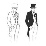 一个绅士的剪影无尾礼服的 免版税库存图片