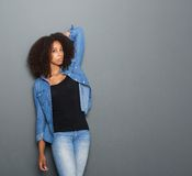 一个黑女性时装模特儿的画象 库存图片