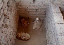 一个婴孩的弄干保存的遗骸在Chauchilla公墓 库存照片