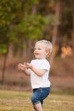 一个年轻小孩孩子户外采摘三叶草花。bo 库存照片
