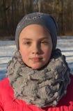 一个11岁的女孩的画象 库存图片