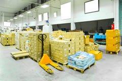 一个仓库的内部有手工铲车板台堆货机truc的 库存图片
