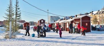 一个晴朗的冬日在南部的港口在LuleÃ¥ 免版税库存图片