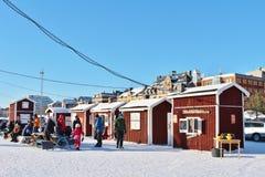 一个晴朗的冬日在南部的港口在LuleÃ¥ 图库摄影