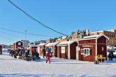 一个晴朗的冬日在南部的港口在LuleÃ¥ 库存照片
