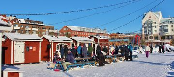 一个晴朗的冬日在南部的港口在LuleÃ¥ 库存图片