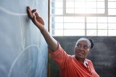给一个黑板介绍的非洲女实业家在办公室 免版税库存图片