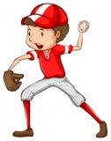 一个年轻棒球运动员 库存图片