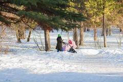 一个年轻母亲在有一辆婴儿推车的公园走在春天晴天 库存照片