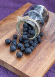 从一个玻璃瓶子倒的蓝莓 库存照片
