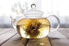 一个玻璃茶罐用在木背景的花中国茶在窗口前面 库存照片
