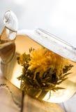 一个玻璃茶罐用在木背景的花中国茶在窗口前面 免版税库存图片
