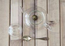 一个玻璃茶罐的顶视图特写镜头用花中国茶准备好酿造和在木背景的一个盖帽在前面 库存照片