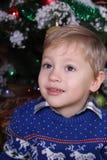 一个年轻男孩的画象在孩子后的圣诞树 库存照片