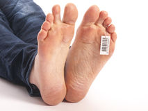 一个死的人的赤脚在太平间 免版税库存图片