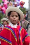 一个年轻盖丘亚族人的男孩的特写镜头传统穿戴的 免版税库存照片