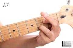 一个统治第七个吉他弦讲解 图库摄影