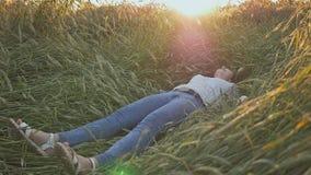 一个年轻美丽的青少年的女孩落入在软的日落的一块麦田 股票视频