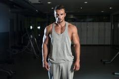 一个年轻肌肉运动的适合白种人人的画象 库存照片