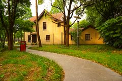 一个黄色欧洲风格的房子在森林 库存照片
